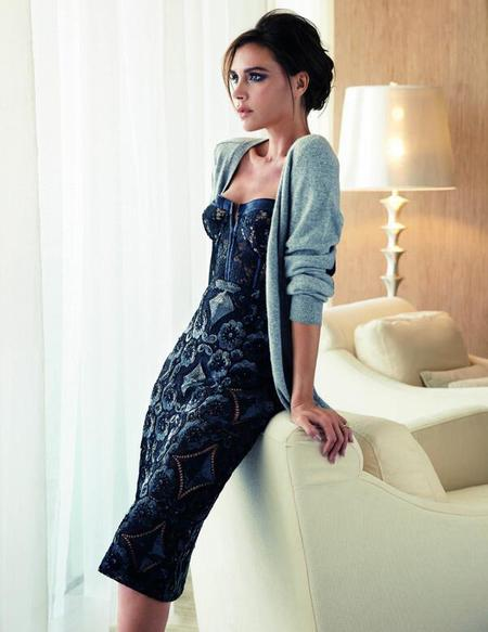 Victoria Beckham posing in lace dress for elle singapore - victoria beckham wants to empower women - day bag - handbag