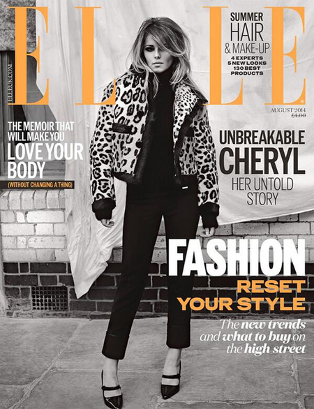 cheryl cole magazine cover-x factor 2014-elle front cover-august 2014-60s trend-celebrity fashion-handbag.com