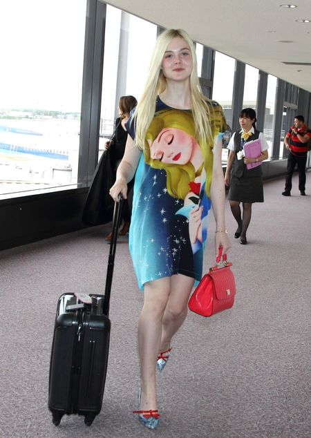 elle fanning sleeping beauty dress and dolce & gabbana handbag - shopping bag - handbag
