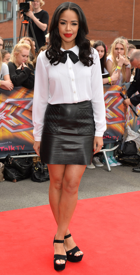 sarah jane crawford-x factor 2014-xtra factor host-caroline flack replacement-red lipstick-white shirt and black leather skirt-celebrity fashion-handbag.com