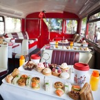 All aboard the afternoon tea bus!