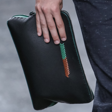 fendi-mens clutch bag-milan fashion week menswear-spring summer 2015-black clutch with green print-handbag.com