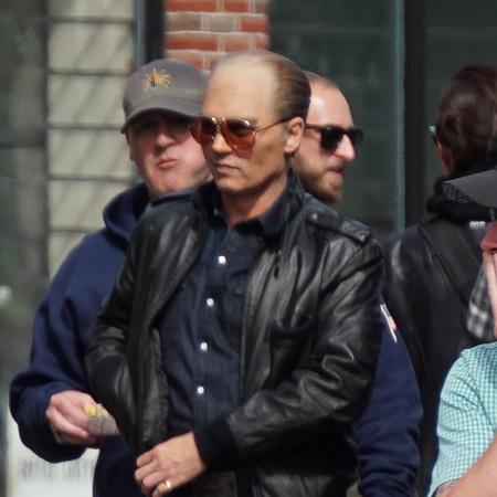 Johnny Depp - on set black mass - costume - bald - handbag.com