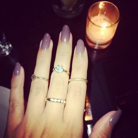 Lucy Watson's dusty purple nails