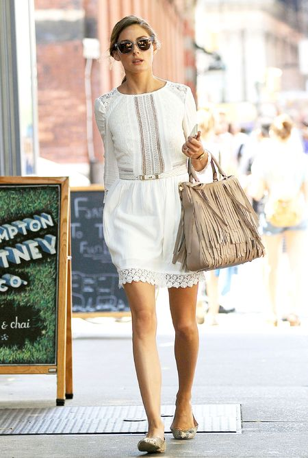olivia palermo white dress and fringe bag - help us find olivia palermo bag - shopping bag - handbag