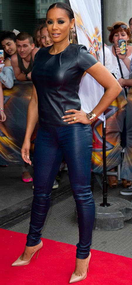 mel b-x factor auditions 2014-london-blue leather trousers-t-shirt-celebrity fashion-handbag.com
