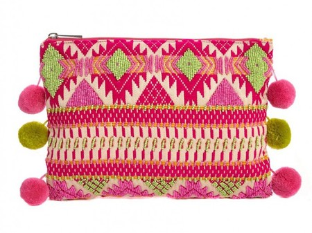 asos aztec lutch bag with pom poms - olivia palermo shares favourite bag - shopping bag - handbag