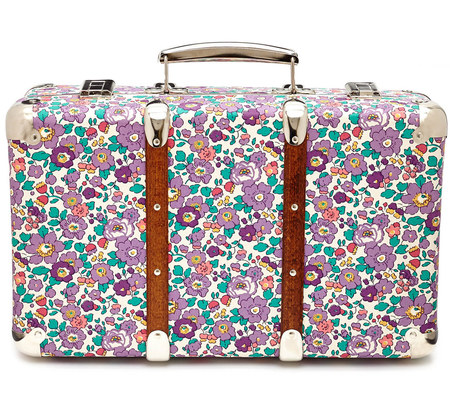 Liberty flower print mini suitcase - travel suitcase - hand luggage - buy it on your break - purple case - Liberty of London - shopping bag - handbag.com