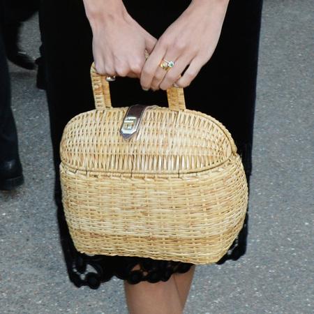 alexa chung-black velvet dress-serpentine gallery summer party-straw basket handbag-handbag.com