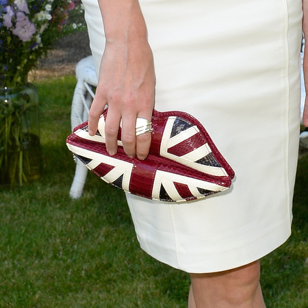 Clara Paget's Union Jack Lulu Guinness clutch