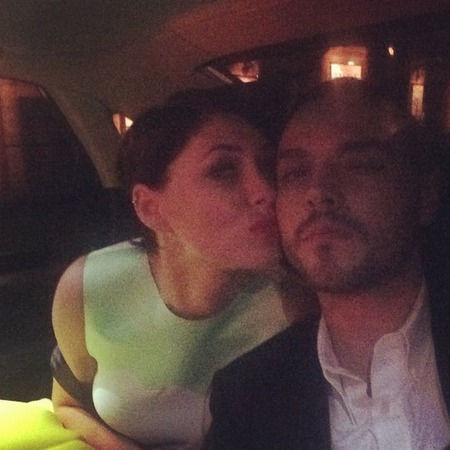 emma willis-matt willis-cute celebrity couple-married-anniversary-kissing in back of taxi-glamour women of the year awards 2014-handbag.com