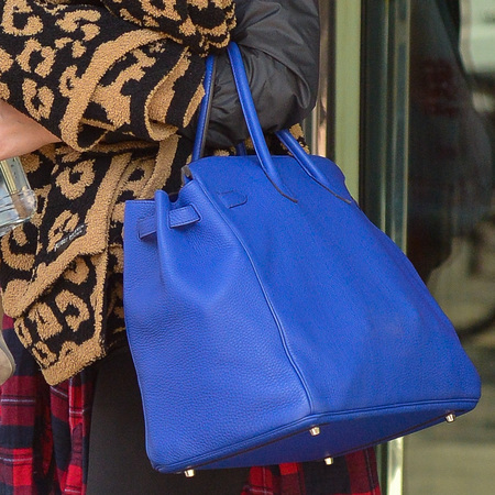 Khloe Kardashian's blue Hermes Birkin bag