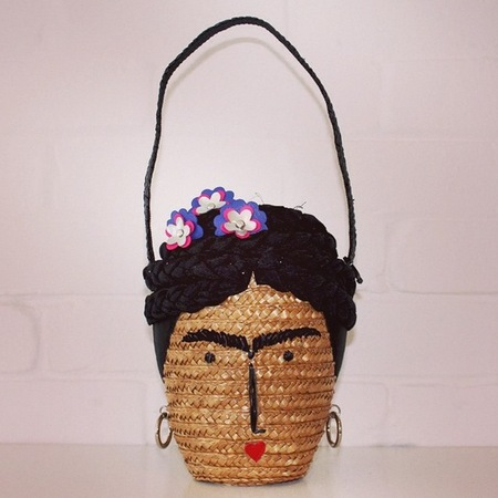 lulu guinness-new handbag-artist frida kahlo-self protrait-wicker straw basket-quirky designer handbags-handbag.com