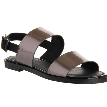 office hologramed sandals in gunmetal - get glam slider sandals - like beyonce from high street - shopping feature - handbag.com