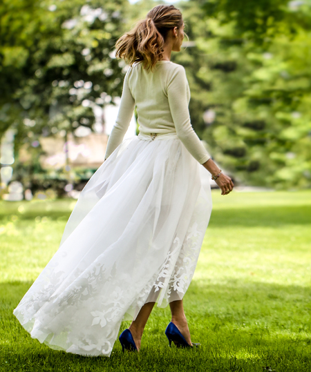 olivia palermo-wedding dress-civil ceremony-husband johannes huebl-carolina herrera skirt and shorts-blue shoes-celebrity wedding-handbag.com