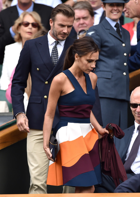 Victoria and David Beckham at the Wimbledon tennis finals - men's wimbledon finals - victoria beckham style - david beckham pictures - handbag.com
