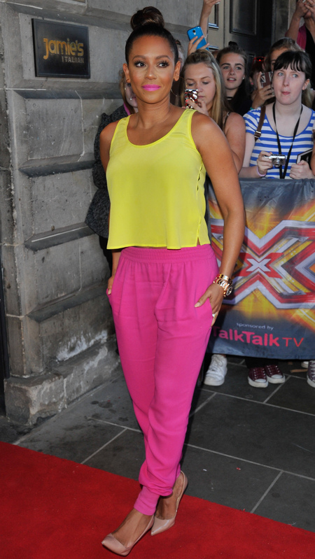 Mel B at the X Factor auditions wearing same outfit as Cheryl Cole - brightly coloured summer clothes - pink lipstick - x factor fashion - celebrity fashion news - handbag.com
