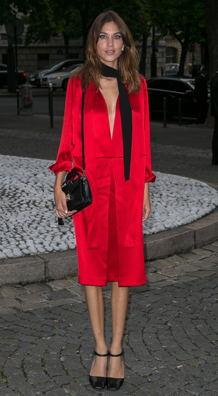 Alexa Chung - Miu Miu resort 2015 show - red dress - handbag.com