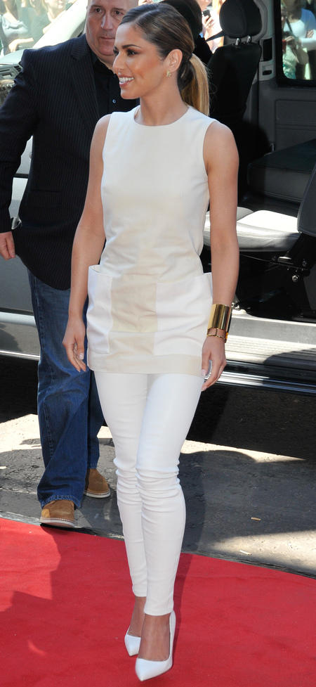 White leather leggings and tunic top
