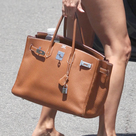 Eva Longoria's brown Hermes Birkin bag