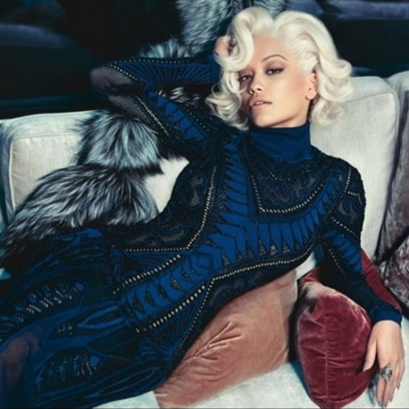 rita ora for roberto cavalli-first pictures-ad campaign-marilyn monroe hair-navy blue dress-handbag.com