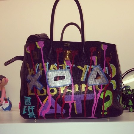 Rita Ora personalised Hermes birkin bag - graffiti painted designer bag al baseer holly - handbag.com