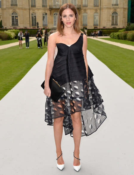 Emma Watson - Dior front row - paris couture week - black and white dior dress - black clutch bag - handbag.com
