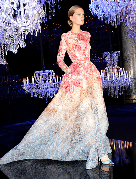 Ellie Saab - dreamy dresses from paris couture week aw14 - red beige and blue long sleeved gown - handbag.com