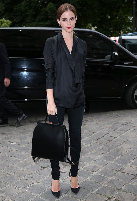 Emma Watson - Giambatista valli - paris couture week - jeans and black shirt - black backpack bag - handbag.com