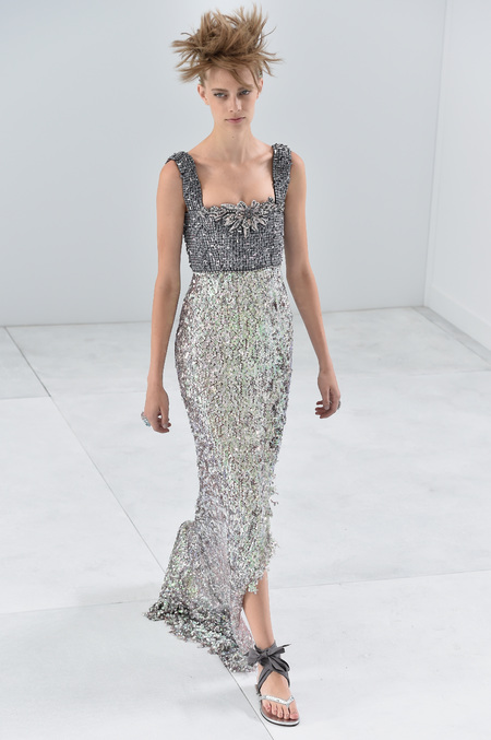 Chanel paris couture show - autumn winter aw 14 - silver beeded detailed gown dress - dreamy dresses - handbag.com