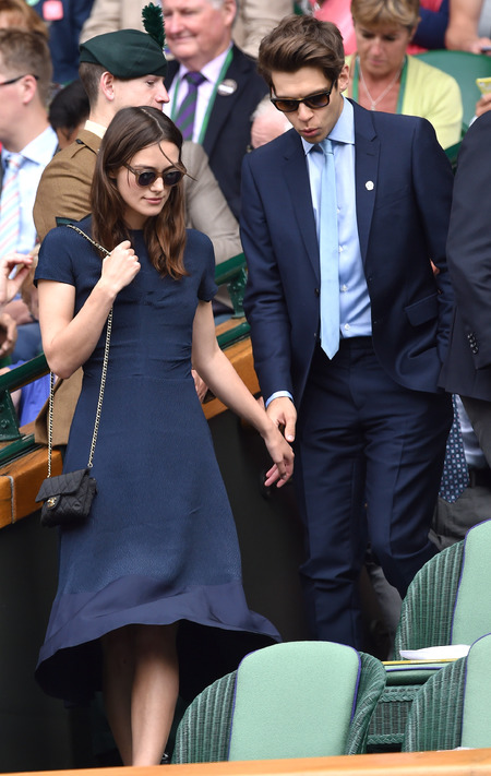 Keira Knightley and James Righton at Wimbledon final - Keira Knightley and her husband - couple's power dressing - navy fashion - celebrity fashion - handbag.com