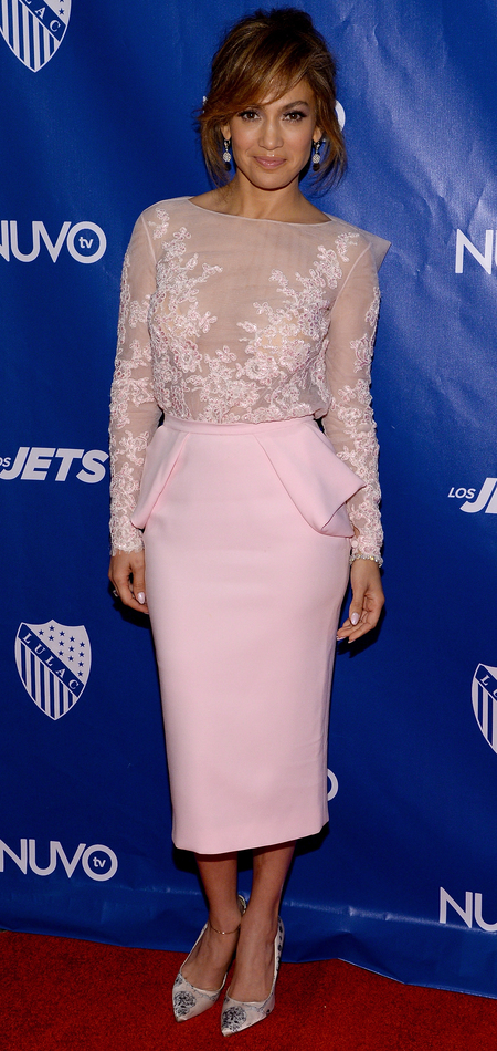 jennifer lopez-pink lace top and pencil skirt-LULAC NUVOtv Unity Luncheon-michelle obama event-handbag.com