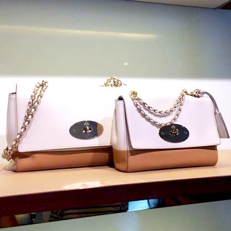 mulberry lily bag-two colour stripe bag-white and brown-spring summer 2015 handbags-handbag.com