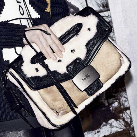 new coach handbags-stuart vevers debut collection-autumn winter 2014-ad campaign-white and black shearling crossbody bag-handbag.com