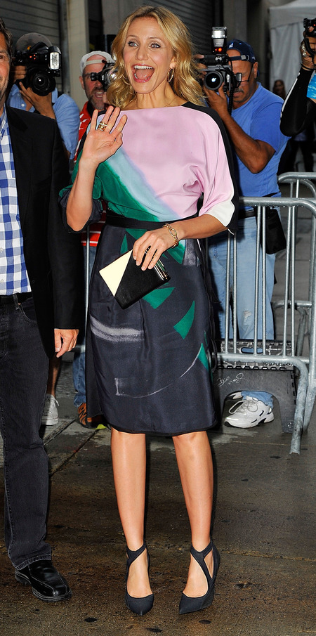 cameron diaz-purple printed dress-matching clutch bag-celebrity red carpet fashion-handbag.com