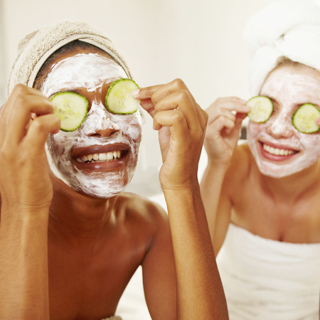 Friends doing face masks