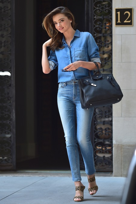 miranda kerr does double denim with her hermes birkin bag - shopping bag - handbag