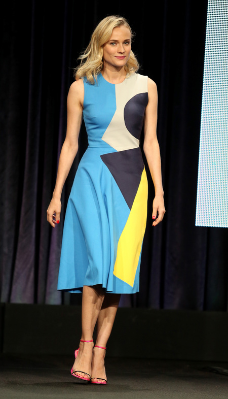 Diane Kruger's geo print dress at the 2014 Summer TCA Tour