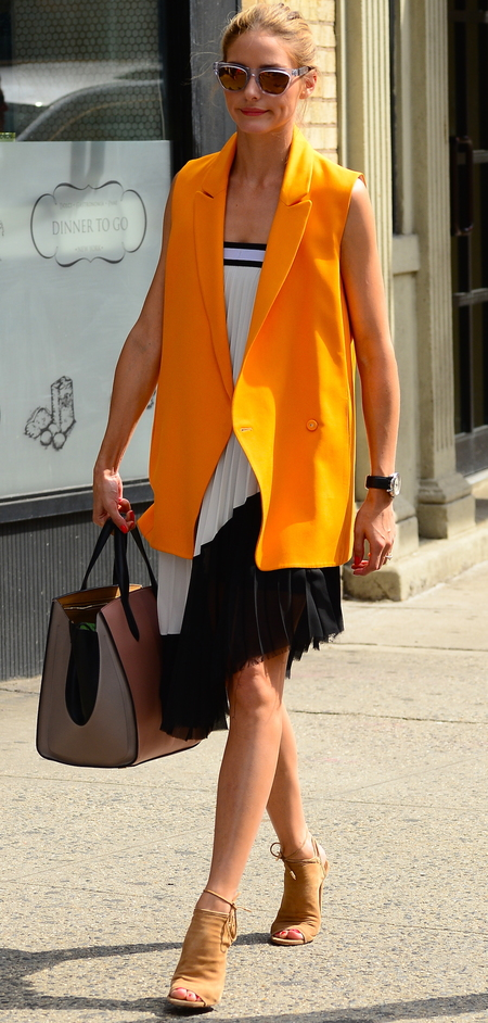 olivia palermo-orange jacket from paul and joe-pink smythson handbag-brityish brands-celebrity style icon-handbag.com