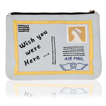 buy it on your break beach huts stamp postcard bag - back of bag - shopping bag - handbag