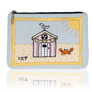 buy it on your break beach huts stamp postcard bag front of bag - shopping bag - handbag.jpg