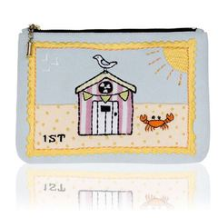 buy it on your break beach huts stamp postcard bag front of bag - shopping bag - handbag.jpg